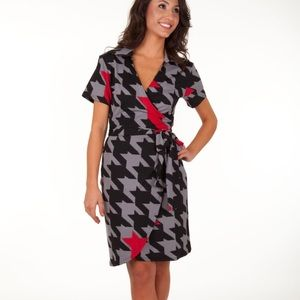 Red and Black Wrap Dress